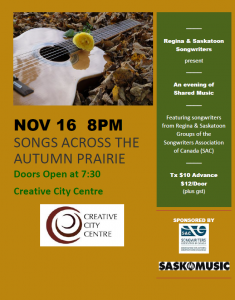 Songs Across the Autumn Prairie @ Creative City Centre | Regina | Saskatchewan | Canada