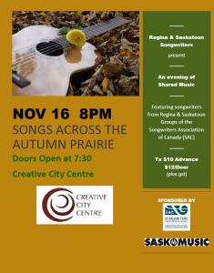 Songs Across the Autumn Prairie @ Creative City Centre | Regina | Saskatchewan | Canada
